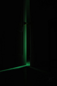 Day 354 - What Awaits...  Had some ideas working with the flash and green tissue paper.   This is the 2nd go, trying to get the lighting right.  I had some neat effects, but I noticed it has to be totally dark to help with the green gradient.  I found the setup to be very challenging.   It's not so much the lighting behind the door, its the way the light falls in the dark foreground.  It must be due to the analog to digital conversion that is causing shadow pixeling.  I definitely want to pursue to see how to beat those blasted pixels.  Sort of like a dark scene on a DVD - waves of pixelized gradients.  Any suggestions would be great.   I thought about a remote flash trigger or longer exposures.    We got snow last night - not much a few inches.  Oh well.  Winter's back. :(   Mar 24 2009